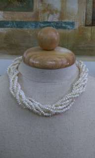 6-strand twisted Real Pearl Necklace