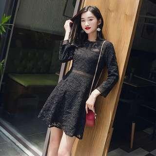 (全新) 蕾絲洋裝 黑色洋裝 黑色小禮服 小個子