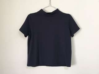 Navy High Neck Top