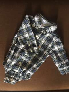 Gap Plaid Button-Up Bodysuit Poplin