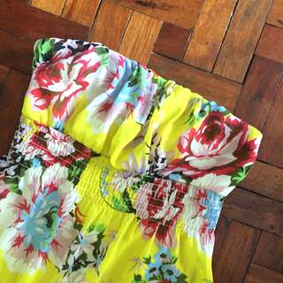 F21 Yellow Floral Tube Dress