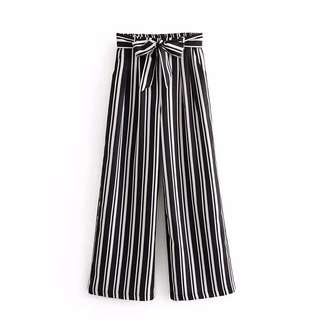 🔥Europe and US Loose Belt Striped Wide Leg High Waist Casual Trousers