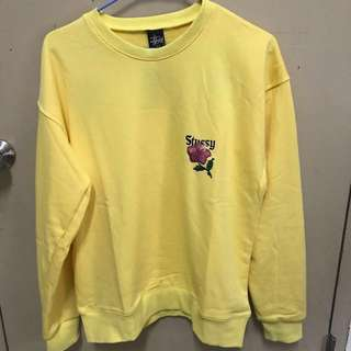 全新✨Stussy 大學t 衛衣 黃色花卉 長袖 刺繡