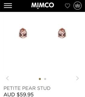 MIMCO Pear Stud Rose Gold Earrings