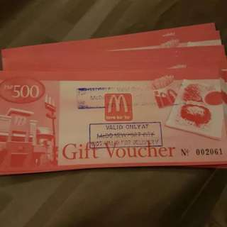 Mcdonalds gift Certiicate worth 500 pesos