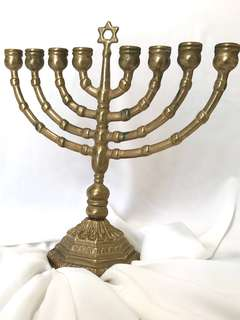 Menorah Hanukkah David Holder Stand Antique Bronze menorah.