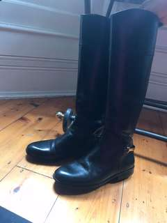 Tory Burch black authentic leather high boots