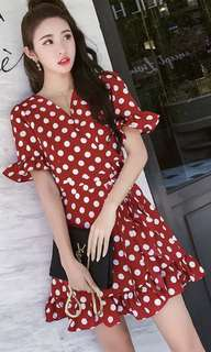 Red dress retro Polka dot