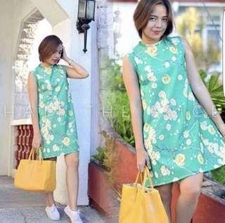 High Neck Floral T Dress