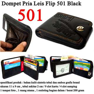 Dompet Pria Leather Leis Flip BLACK 501