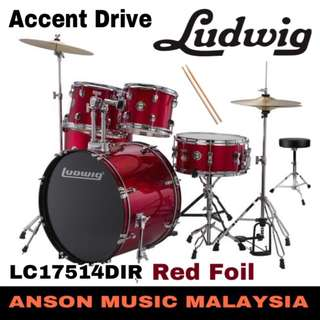 Ludwig LC17514DIR Accent Drive 5-Piece Drums Set, Red Foil