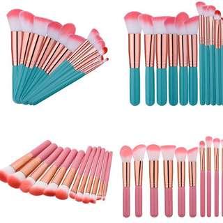 12 Pcs Complete Face Makeup Brush Tool Kit (Pink//Green)