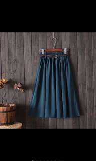 Pleated Belt Skater Midi Skirt PO