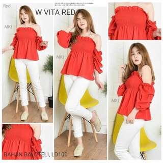 Sabrina red blouse