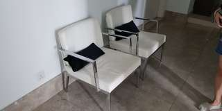 Steel frame chairs two pieces