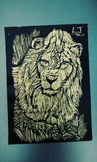Lion scratch art