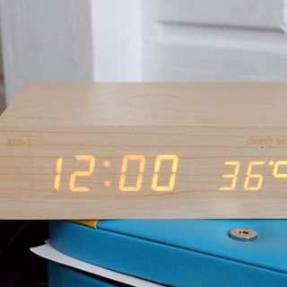 Cherry Mobile Wooden Speaker w/ Time and Alarm