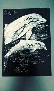 Dolphin scratch art