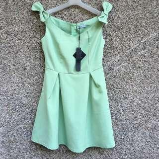 Off Shoulder Pastel Green Bow Shoulders Dress