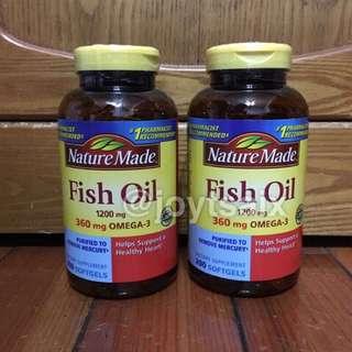 當天出貨 2瓶入 每瓶200顆 美國萊萃美Nature Made fish oil 魚油1200mg 液態軟膠囊
