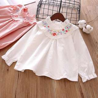 Girls long-sleeved lace collar