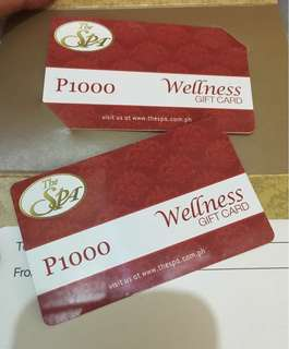 The Spa gift cards P2000