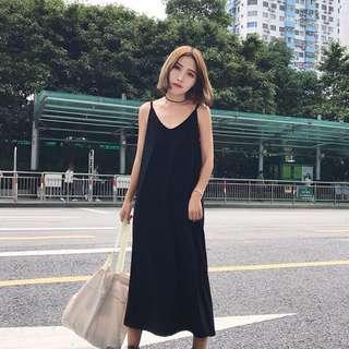 小黑裙開衩長裙