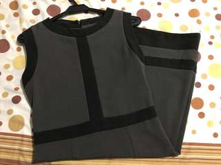 Gray Office Dress (with black detail)