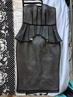 Cooper St Black Mesh Strapless Dress