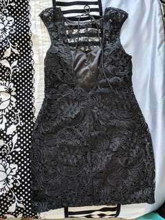 Lipsy Black Lace Backless Dress