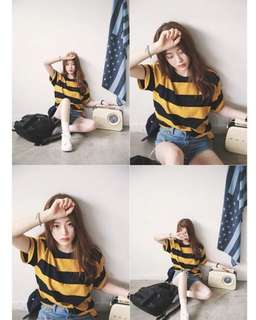PO ulzzang yellow and black striped tee