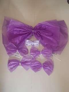 花車佈置紫色蝴蝶結一套5件送新郎/兄弟全新粉紫色煲呔1個