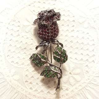 Signed Swarovski Gunmetal Grey Red Rose Brooch Pin with box