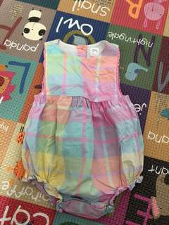Checkered pastel romper baby girl