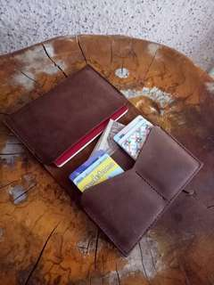 Travelling Passport Wallet. Crazy Horse Leather. Top grain leather