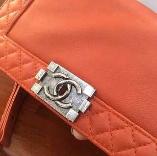 Authentic Chanel Le Boy Reverso Medium Chain Flap Bag