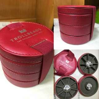 Trollbeads 全新酒紅色 三層收納盒 外國專櫃滿購送