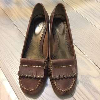 日本製女鞋 Fin 24.5號 學院風咖啡色真皮低跟 0.5折出清
