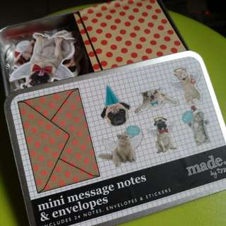 typo Pug theme cards with envelop,  sticker and metal box