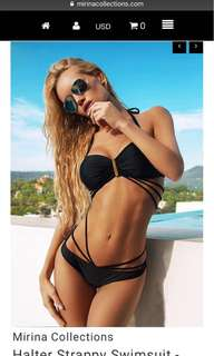 Halter Strappy Swimsuit Black Mirina collections