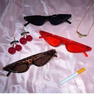 🍒 Skinny Thin Small Oval cat eye triangular glasses sunglasses shades sunnies ulzzang aesthetic 90s 80s 70s vintage retro
