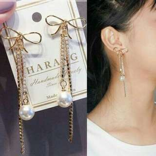 Anting korea mutiara panjang