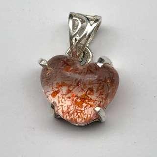 天然馬達加斯加金草莓晶愛心鑲嵌招財鎖骨鏈