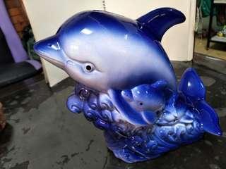 陶瓷海豚親子存錢筒