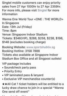 PO wanna one in sg tickets