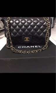 Chanel LARGE CLASSIC HANDBAG LAMBSKIN BLACK & BURGUNDY