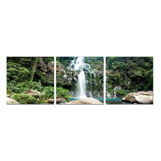 Waterfall Middle Rainforrest Acrylic Print 3 Piece