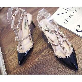 Women Shoes double strap rock stud heels [Black]