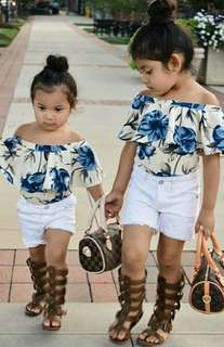 🍀Baby Girl Off Shoulder Floral Top+ Denim Shorts 2pcs Set🍀