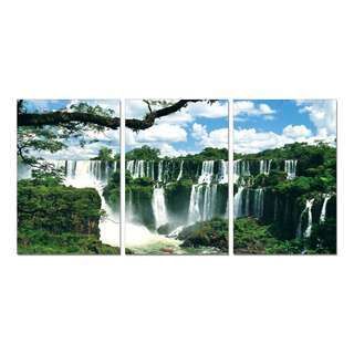 Waterfall Mountains Day Acrylic Print 3 Piece